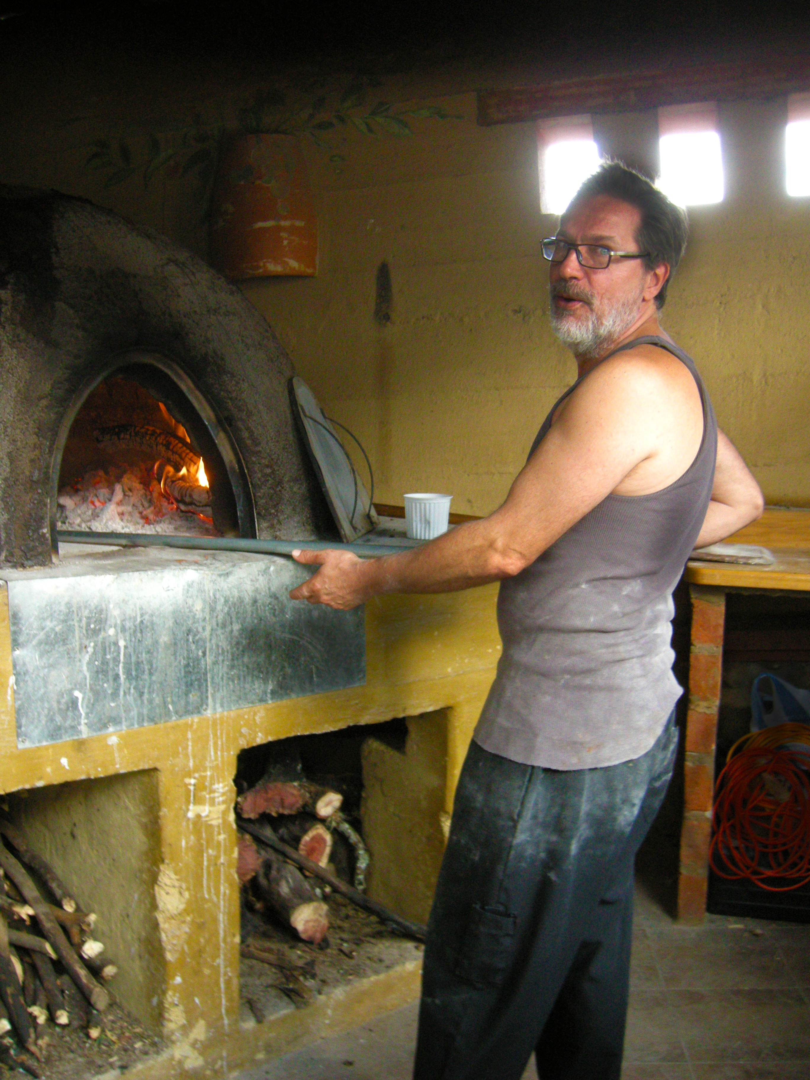 Franco fires up the Pizza oven at Mama Sylvia's